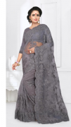 Grey Lace Saree